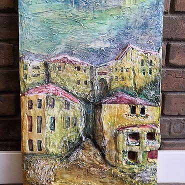 """Картины и панно ручной работы. Ярмарка Мастеров - ручная работа """"Меж домов"""". Handmade."""
