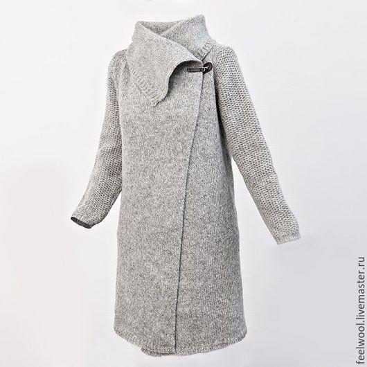 Кофты и свитера ручной работы. Ярмарка Мастеров - ручная работа. Купить Женский свитер-пальто. Handmade. Серый, шерстяной свитер