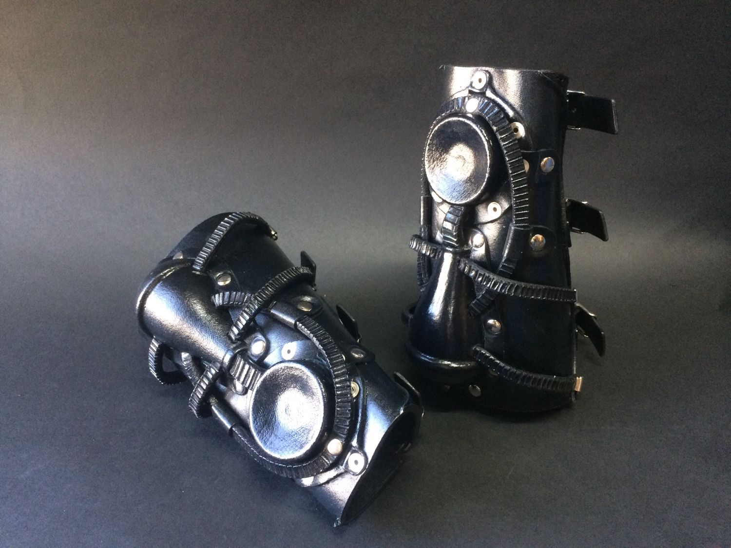 """Leather Bracers """"Black Steampunk"""", Subculture Attributes, St. Petersburg,  Фото №1"""