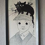 Картины и панно ручной работы. Ярмарка Мастеров - ручная работа Клетчатый пацан с котами. Handmade.