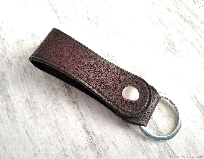 Брелок для ключей на кнопке кожаный шоколадно-коричневый, Брелок, Казань,  Фото №1
