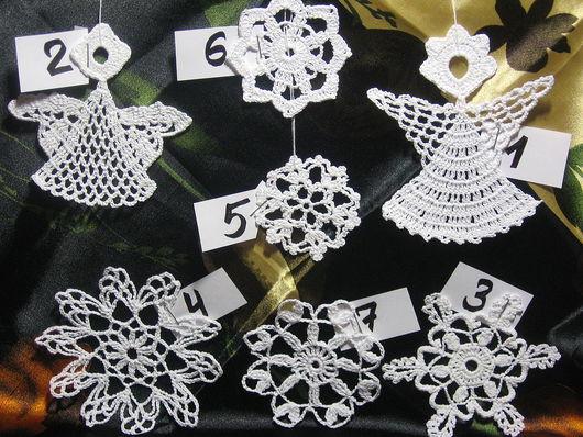 Текстиль, ковры ручной работы. Ярмарка Мастеров - ручная работа. Купить Новогодние снежинки и ангелочки. Handmade. Снежинки, новогоднее украшение