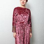 Одежда handmade. Livemaster - original item Skirt and blouse velvet Burgundy powder with lace. Handmade.
