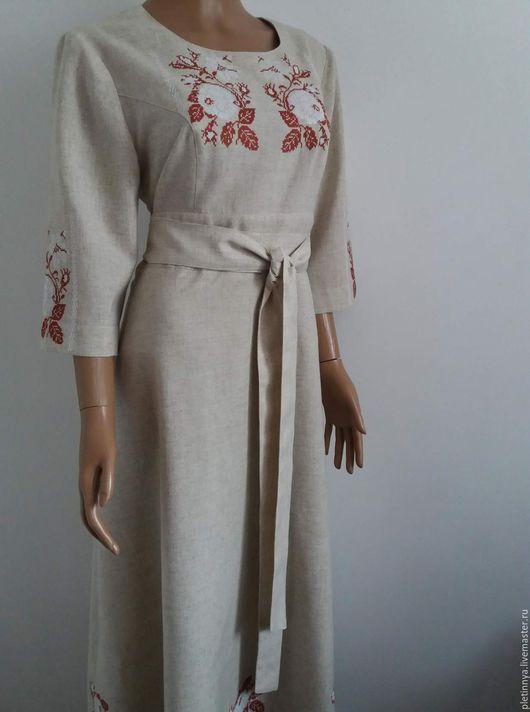 Этническая одежда ручной работы. Ярмарка Мастеров - ручная работа. Купить платье льняное. Handmade. Коричневый, лён