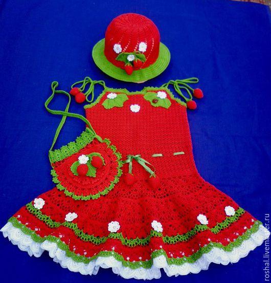 """Одежда для девочек, ручной работы. Ярмарка Мастеров - ручная работа. Купить Комплект """"Клубничка"""". Handmade. Ярко-красный"""