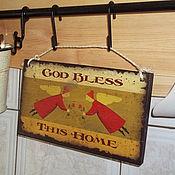 """Для дома и интерьера ручной работы. Ярмарка Мастеров - ручная работа Интерьерная табличка""""Бог хранит этот дом"""". Handmade."""