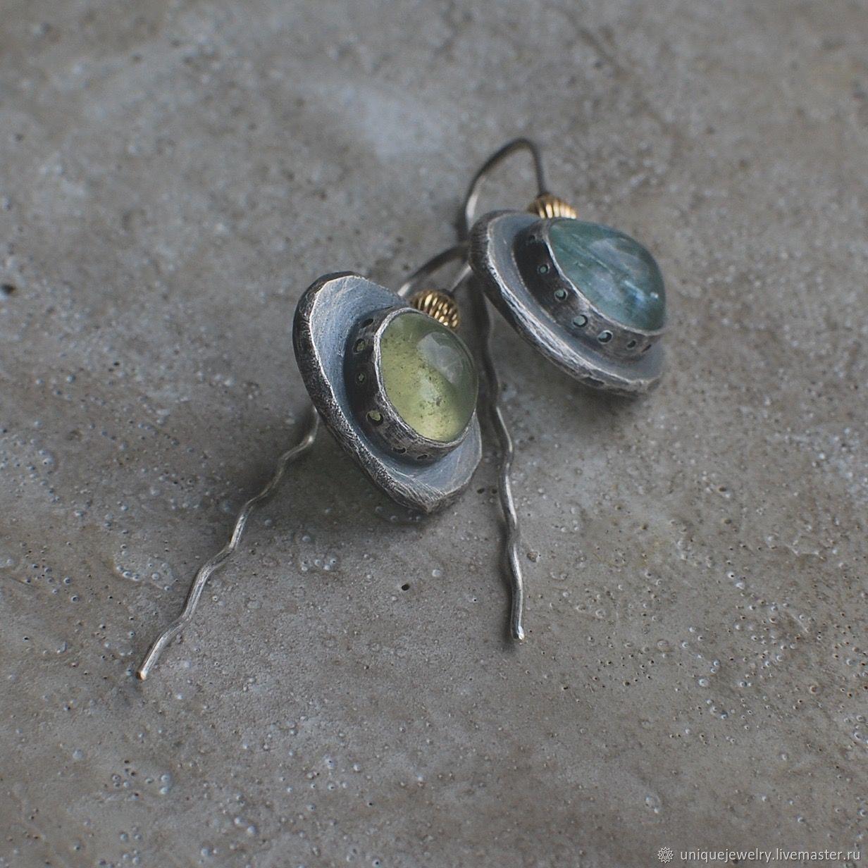 Beryllium earrings, silver and Goldfield, Earrings, Moscow,  Фото №1
