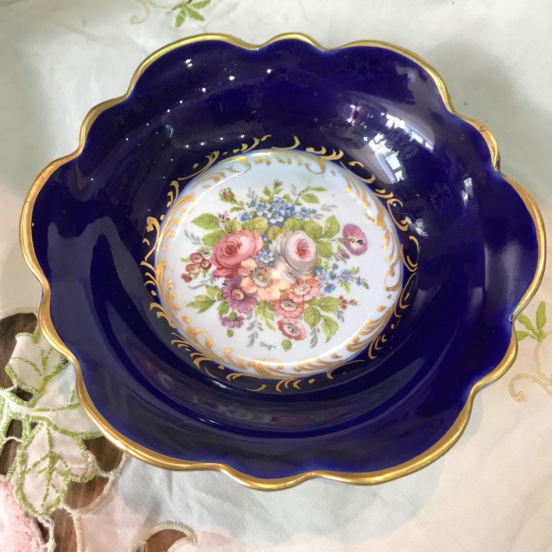 Plate, cream bowl, bowl, cobalt, Limoges, France (2945), Vintage plates, Tyumen,  Фото №1