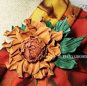 """Украшения ручной работы. Ярмарка Мастеров - ручная работа Цветы из кожи. Роза-брошь """"Охра"""". Handmade."""
