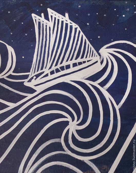 Пейзаж ручной работы. Ярмарка Мастеров - ручная работа. Купить Ночное плавание_картина маслом. Handmade. Комбинированный, картина в подарок, путь