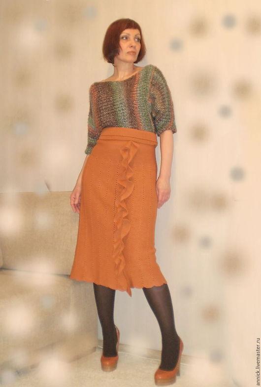 Платья ручной работы. Ярмарка Мастеров - ручная работа. Купить Вязаное комбинированное платье. Handmade. Платье, миди, вязание