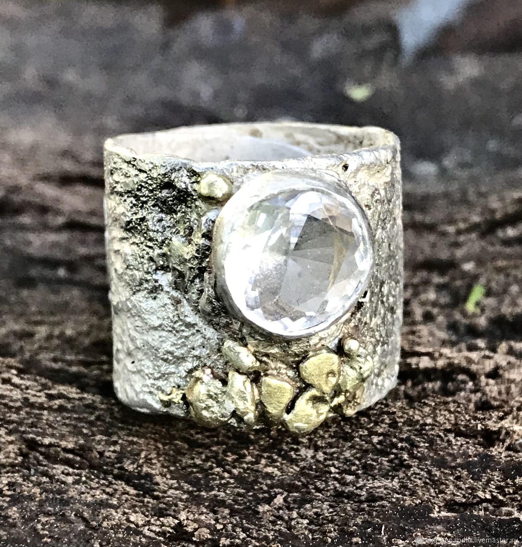 Широкое кольцо. Начало. Топаз, серебро, золото, Кольца, Санкт-Петербург,  Фото №1
