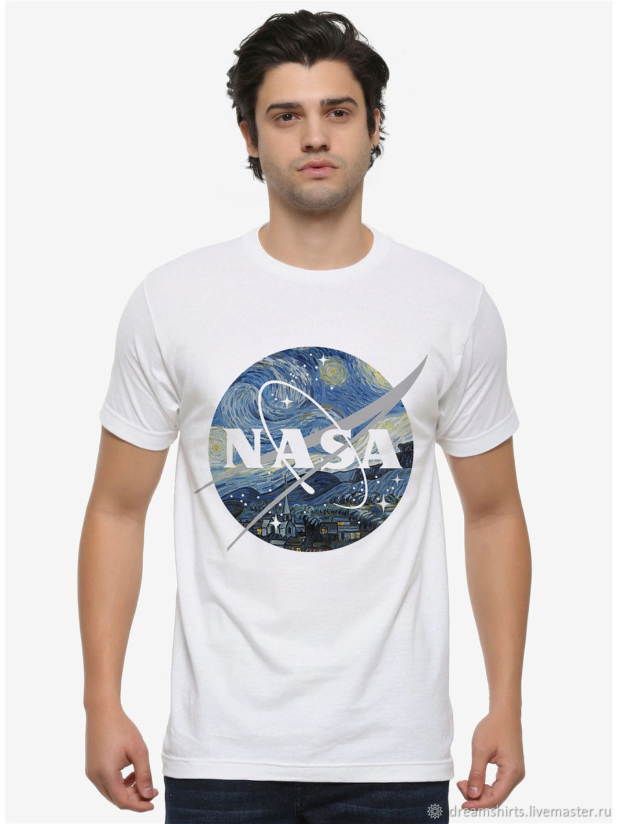 T-shirt cotton ' Starry Night NASA', T-shirts and undershirts for men, Moscow,  Фото №1