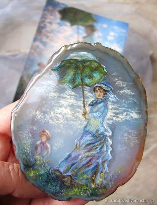 Panel ( Pendant ) painted on the stone, ' Woman with a parasol ', Pendants, Moscow,  Фото №1