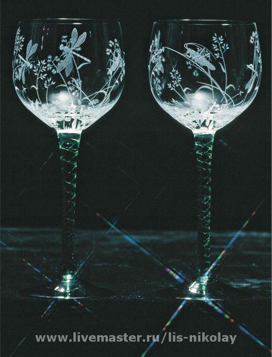 """Бокалы, стаканы ручной работы. Ярмарка Мастеров - ручная работа. Купить Бокалы """"Летний луг"""". Handmade. Стекло"""