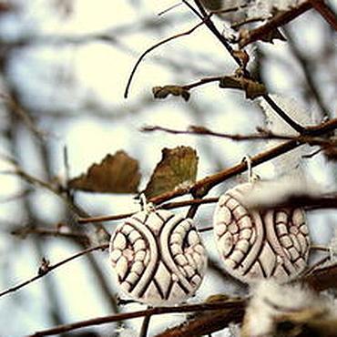 """Украшения ручной работы. Ярмарка Мастеров - ручная работа Фарфоровые серьги """"Ветви"""". Handmade."""