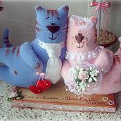 Куклы и игрушки ручной работы. Ярмарка Мастеров - ручная работа Киса и Котэ - свадебная парочка. Handmade.