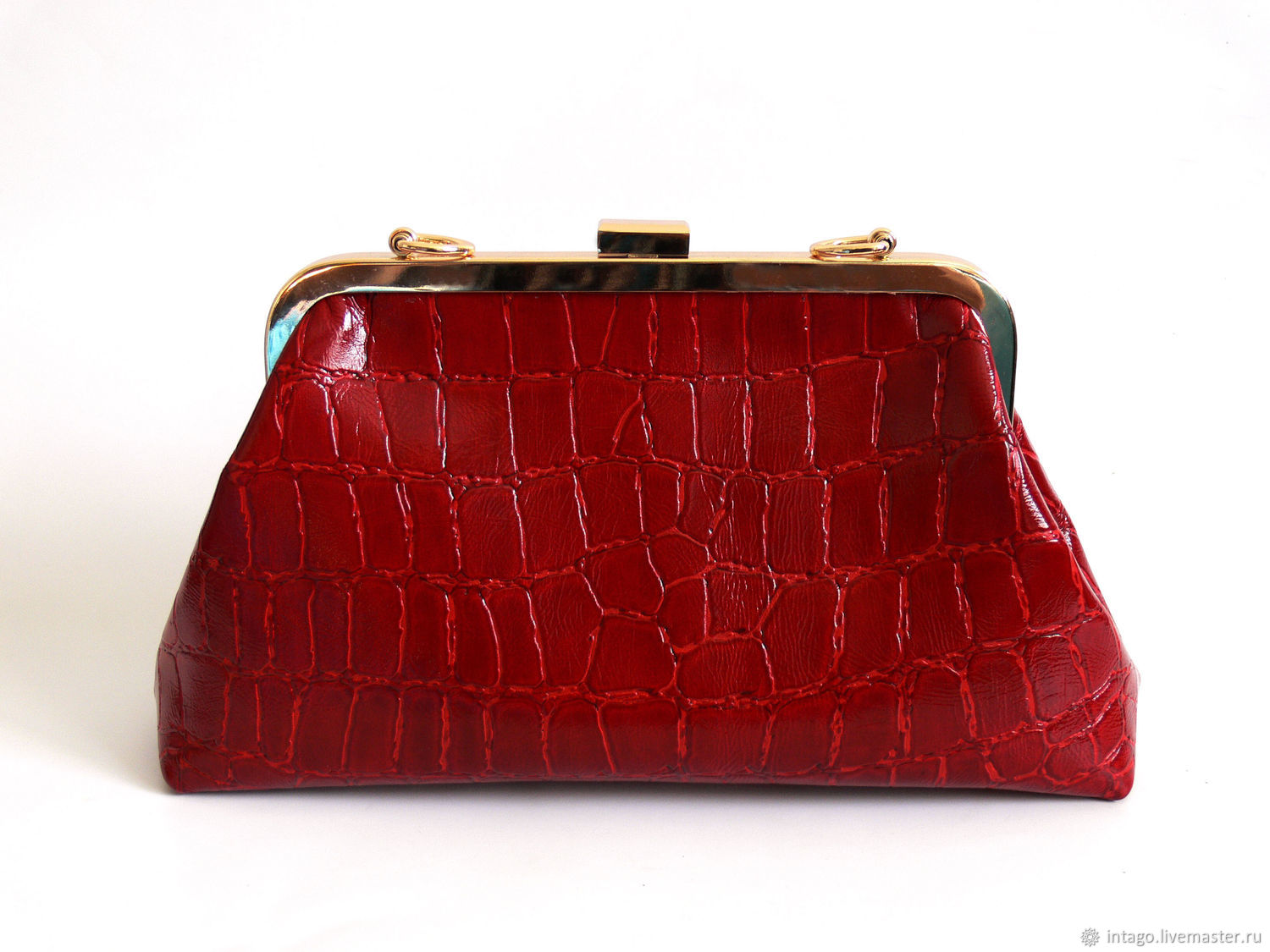Bag with clasp: Red leather crocodile bag, Clasp Bag, Novosibirsk,  Фото №1