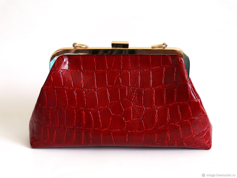 Красная кожаная сумка под крокодила, Сумка с фермуаром, Новосибирск,  Фото №1