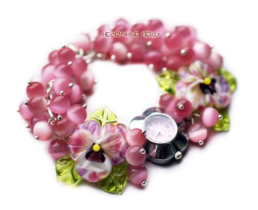 """Часы ручной работы. Ярмарка Мастеров - ручная работа. Купить """"Дивный сад"""" часы с бусинами лэмпворк. Handmade. Часы"""