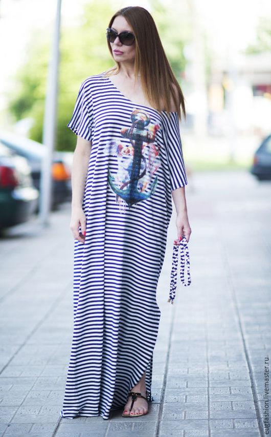 Платье из хлопка. Платье в полоску. Платье в пол. Длинное платье. Ярмарка Мастеров.