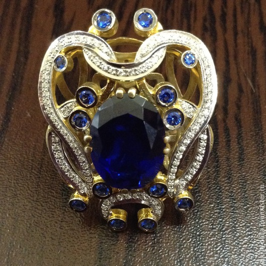 Кольца ручной работы. Ярмарка Мастеров - ручная работа. Купить Magic Roxanne. Золотое кольцо с сапфиром и бриллиантами. Handmade.