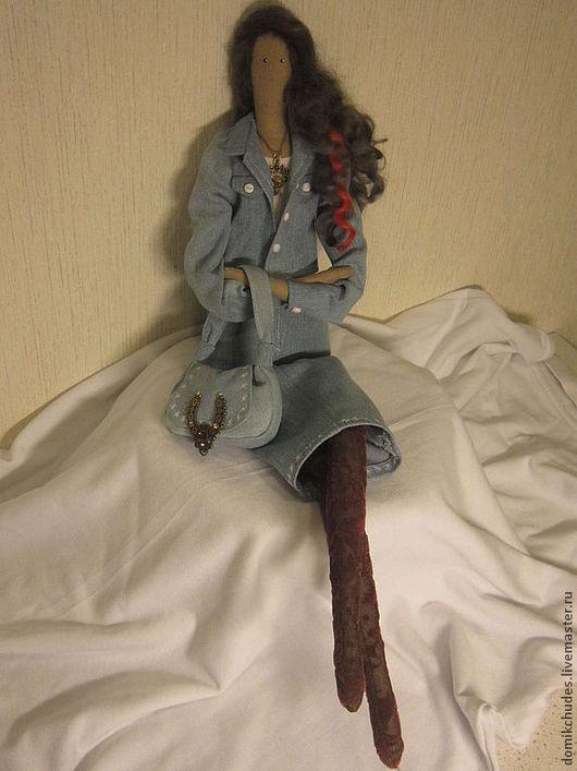 Куклы Тильды ручной работы. Ярмарка Мастеров - ручная работа. Купить Мишель. Handmade. Голубой, жакет женский, Джинсовая ткань