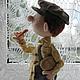 Коллекционные куклы ручной работы. Колбаска.... Наталья Савинова куклы из шерсти. Ярмарка Мастеров. Авторская работа, ретро шляпка, ситец
