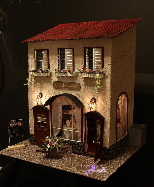 Кукольный дом ручной работы. Ярмарка Мастеров - ручная работа. Купить Парижское кафе. Handmade. Парижское кафе, картон