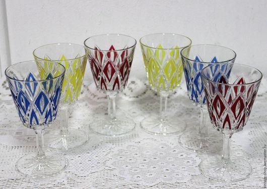 Винтажная посуда. Ярмарка Мастеров - ручная работа. Купить Винные фужеры цветные, винтаж, Германия 1970-е года. Handmade.