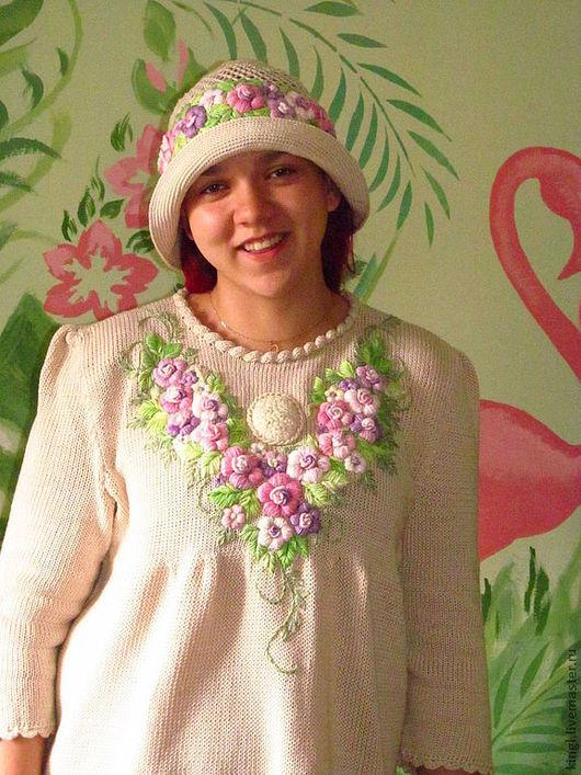 """Шляпы ручной работы. Ярмарка Мастеров - ручная работа. Купить Шапочка летняя с ручной вышивкой """" Яблоневый цвет """". Handmade."""