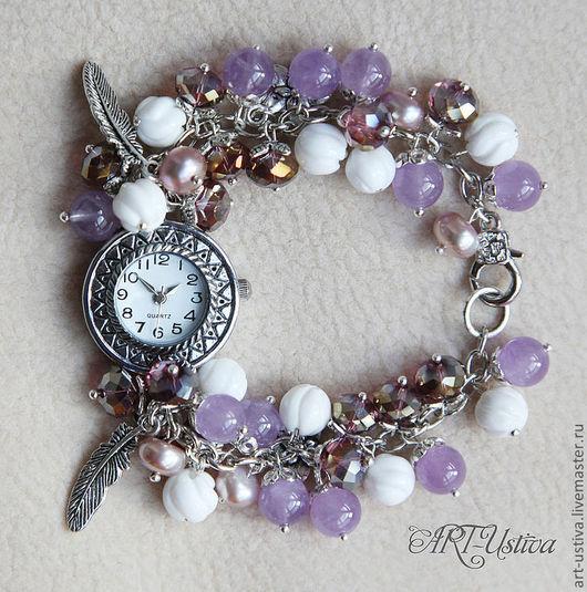 """Часы ручной работы. Ярмарка Мастеров - ручная работа. Купить Часы-браслет """"Сиреневый туман"""". Handmade. Браслет, браслет из камней"""