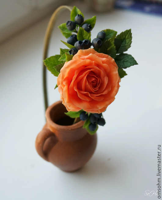 """Диадемы, обручи ручной работы. Ярмарка Мастеров - ручная работа. Купить Ободок """" Персиковая роза и черника"""". Handmade. Оранжевый"""