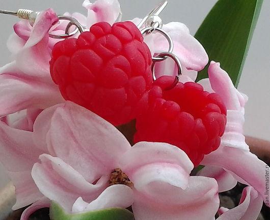 Серьги с ягодами Малины, авторская работа, ручная работа, украшения из полимерной глины.
