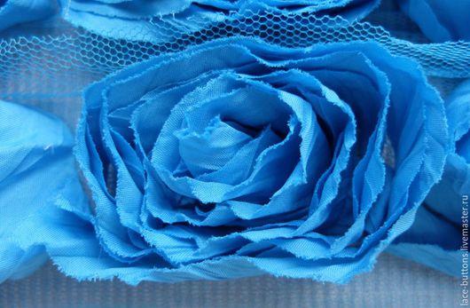 Шитье ручной работы. Ярмарка Мастеров - ручная работа. Купить Объемные цветы ярко-голубого цвета 7см. Handmade. Голубой