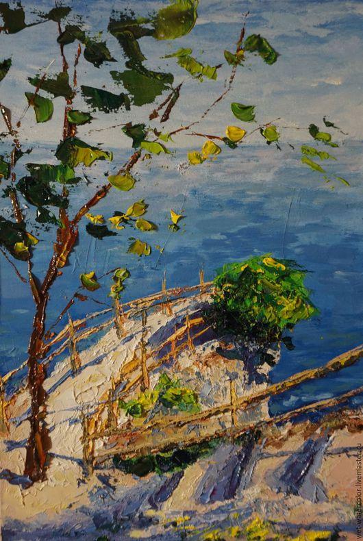 Пейзаж ручной работы. Ярмарка Мастеров - ручная работа. Купить У обрыва. Handmade. Разноцветный, море, скала, дерево, солнце