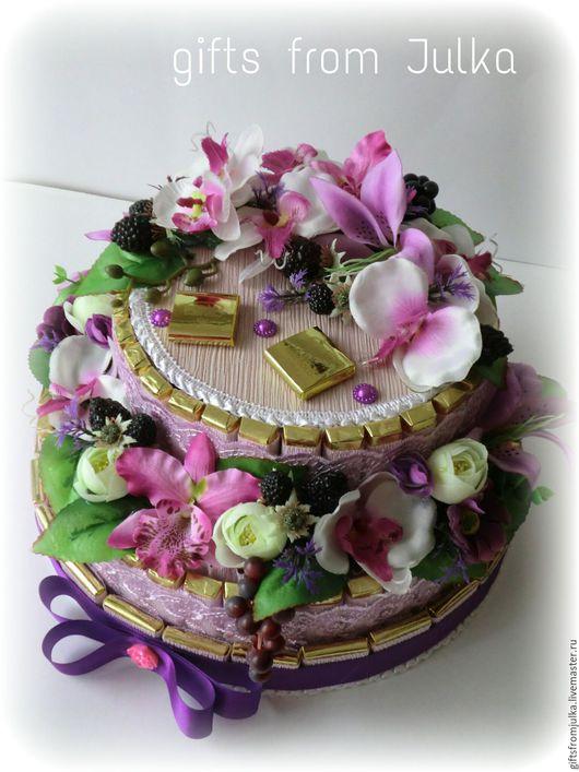 """Букеты ручной работы. Ярмарка Мастеров - ручная работа. Купить Торт из конфет """" Орхидея"""". Handmade. Сиреневый, шоколад"""