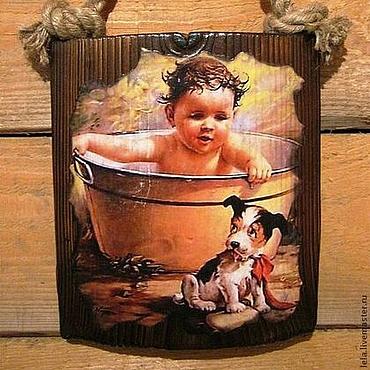 """Картины и панно ручной работы. Ярмарка Мастеров - ручная работа Панно для бани, сауны, ванной """"Иди ко мне, Дружок!"""". Handmade."""