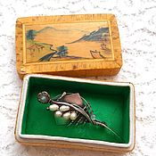 Винтаж handmade. Livemaster - original item Japanese silver brooch with pearls, gift box. Handmade.