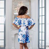 Одежда ручной работы. Ярмарка Мастеров - ручная работа Летнее платье Гжель. Handmade.