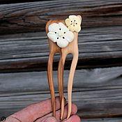 Сувениры и подарки handmade. Livemaster - original item Hair clip made of wood.Bone carving.Apple blossom. Handmade.