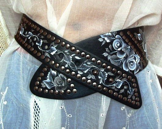 """Пояса, ремни ручной работы. Ярмарка Мастеров - ручная работа. Купить Ремень кожаный """" Черно-белая романтика"""". Handmade."""