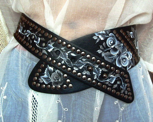 Belts handmade. Livemaster - handmade. Buy Strap leather 'Black-and-white romance'.Strap, black, strap with roses