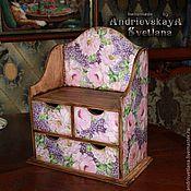 Для дома и интерьера ручной работы. Ярмарка Мастеров - ручная работа Мини-комод с полочкой Сирень и розы. Handmade.