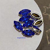 handmade. Livemaster - original item 1 piece Czech rhinestone 15h7mm Sapphire Navette Czech crystals in DACs. Handmade.