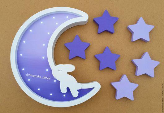 Освещение ручной работы. Ярмарка Мастеров - ручная работа. Купить Ночник - Луна с зайкой и 6 звездочек. Handmade. Комбинированный