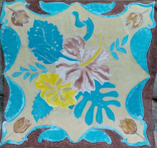 Шарфы и шарфики ручной работы. Ярмарка Мастеров - ручная работа. Купить Странные цветы. Handmade. Бирюзовый, роспись по ткани, шоколадный