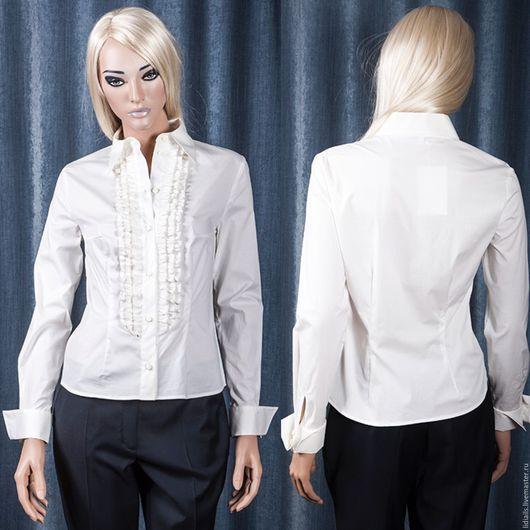Блузки ручной работы. Ярмарка Мастеров - ручная работа. Купить Рубашка белая с рюшками. Handmade. Бежевый, цвет айвори, рубашка