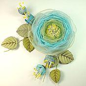 handmade. Livemaster - original item Cloud Apple. Brooch with flowers made of fabric and genuine leather. Handmade.