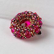 Украшения handmade. Livemaster - original item pink beaded brooch. Handmade.